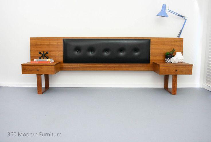 Mid Century Teak Bedside Tables Drawers Bedhead Retro Vintage Danish Scandi era in Home & Garden, Furniture, Bedroom Furniture   eBay 360 Modern Furniture
