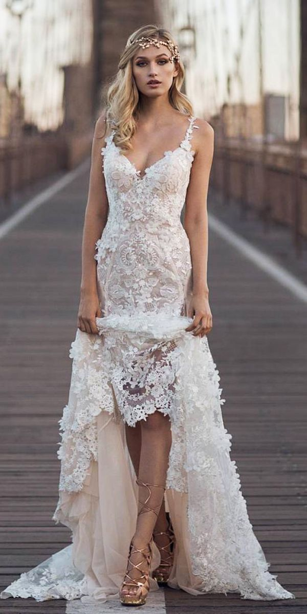 24 Romantic Bridal Gowns Perfect For Any Love Story ❤️ lace sheath romantic bridal gowns with spaghetti straps floral appliques galia lahav ❤️ Full gallery: https://weddingdressesguide.com/romantic-bridal-gowns/ #bride #wedding #bridalgown