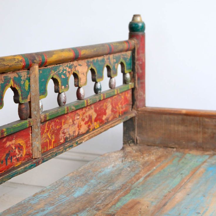 Painted Wooden Bench - eye catching colours that creates a rich warm finish  #indian # - 68 Best Kasakosa Home Furniture Images On Pinterest Indian