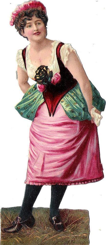 Oblaten Glanzbild scrap die cut chromo Dame 16,3 cm femme lady Frau