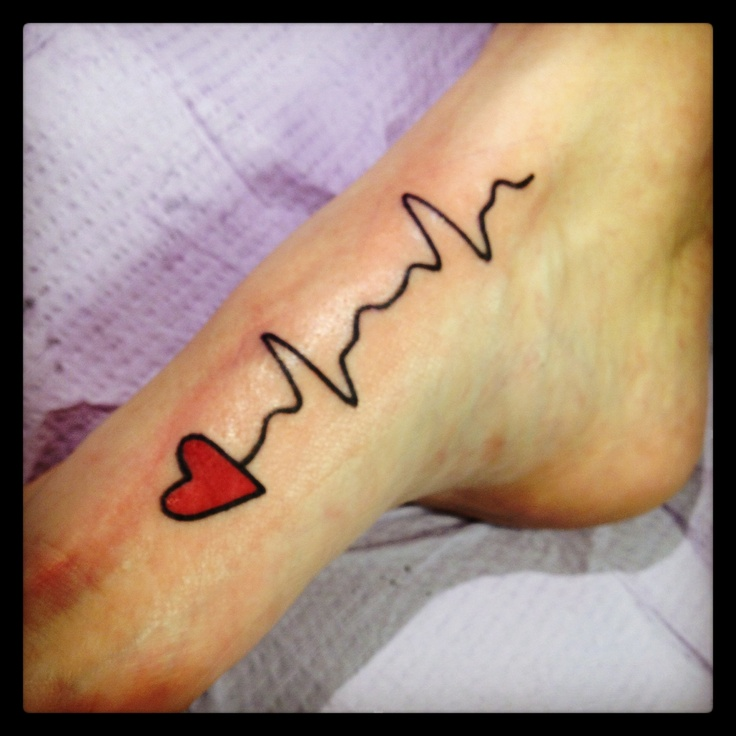 EKG tattoo over the inside arch of my foot ❤❤❤
