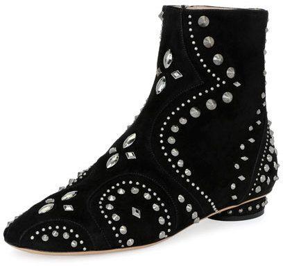 Valentino Garavani Pebbles Studded Flat Bootie, Black