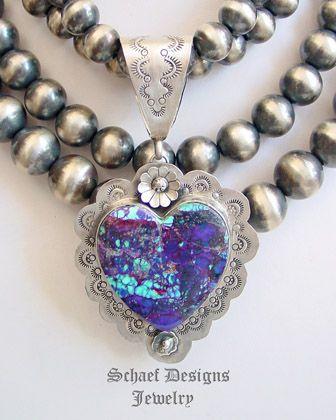Schaef Designs Purple Turquoise Large Southwestern Heart Pendant   New Mexico