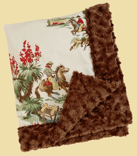 OMG Monica........ how have we not gotten this??? adorable vintage western fabric baby blanket!