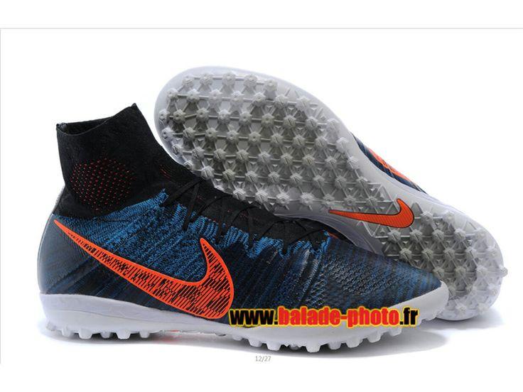 Chaussures de football Nike Elastico Superfly 2015 Volt Turf bleu orange 6080
