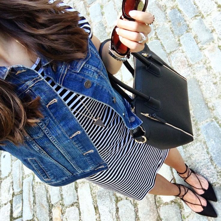 Striped Dress + Denim Vest
