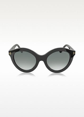 TOM FORD - CHIARA FT0359 01B Runde Sonnenbrille in schwarz