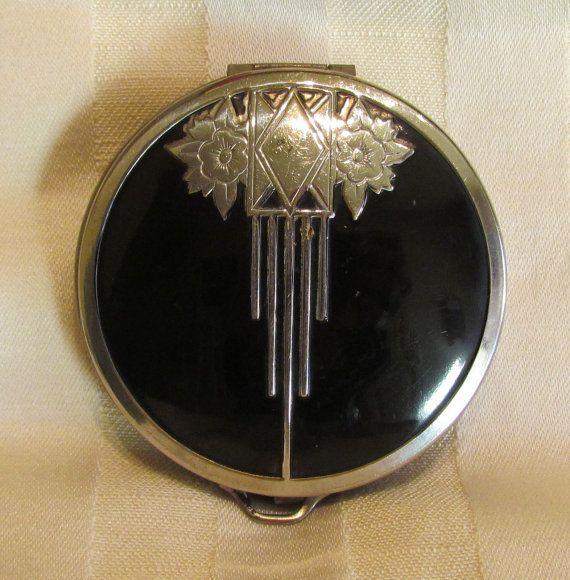 1930s Art Deco Powder Compact Mirror Compact Enamel Compact Leather Bottom Very Good Condition RARE via Etsy