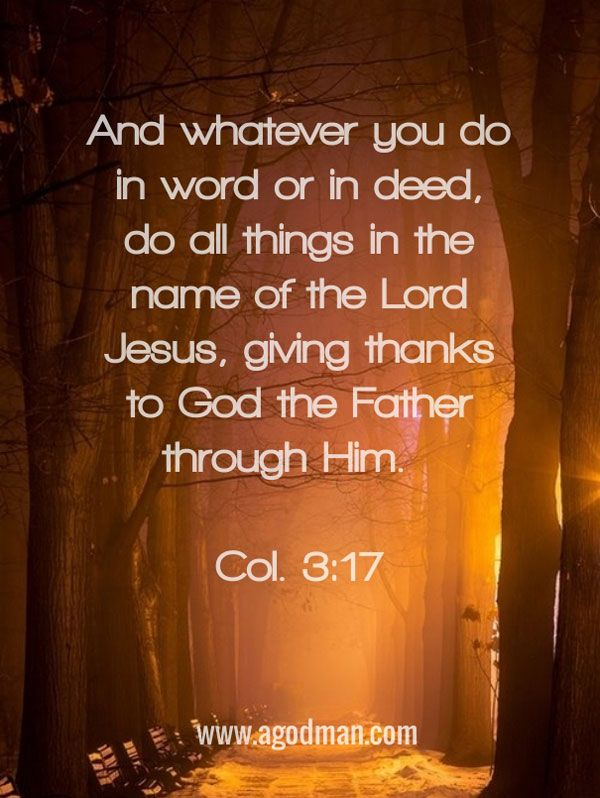 Col. 3:17 And whatever you do in word or in deed, do all things in the name of the Lord Jesus, giving thanks to God the Father through Him. #Bible #Verse #Scripture quoted at www.agodman.com