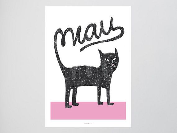 Katze / Miau, Schwanz, Typography Art, Kunstdruck Poster, Wall-Art