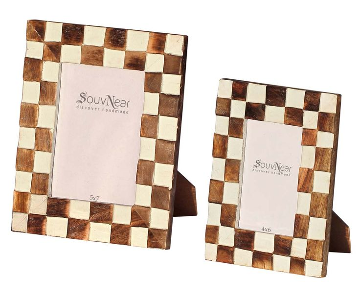 Bulk Buy 5x7 Inches Brown & Beige Picture Frame – Wholesale Handmade Wooden Check Pattern Photo Frame – Home Decor Picture Frames from India