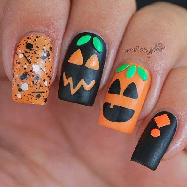 35 Cute and Spooky Nail Art Ideas for Halloween - Best 25+ Pumpkin Nail Art Ideas On Pinterest Fall Nail Art
