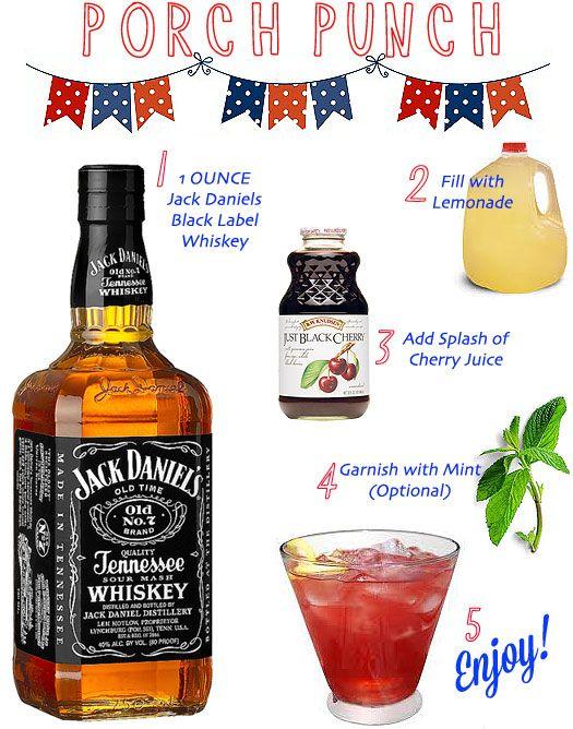 """porch punch"" - bourbon, lemonade & cherry juice make for a perfect summertime cocktail."