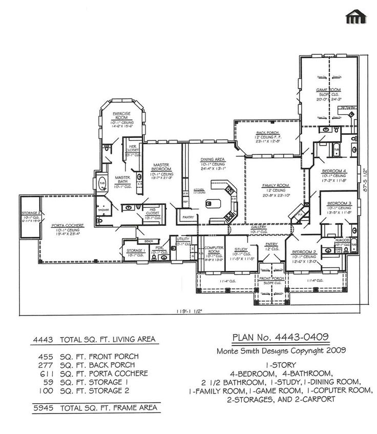 1 story 4 bedroom 4 bathroom 2 5 bathroom 1 dining - One story four bedroom house plans ...