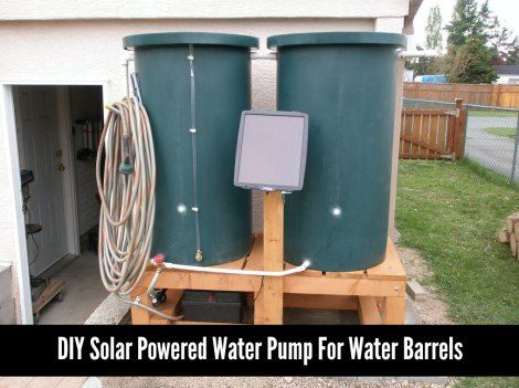 A little plumbing and wiring is all that is needed to set up a solar powered water pump for water barrels. The use of solar power helps reduce energy costs.