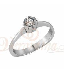 Μονόπετρo δαχτυλίδι Κ18 λευκόχρυσο με διαμάντι κοπής brilliant - MBR_016