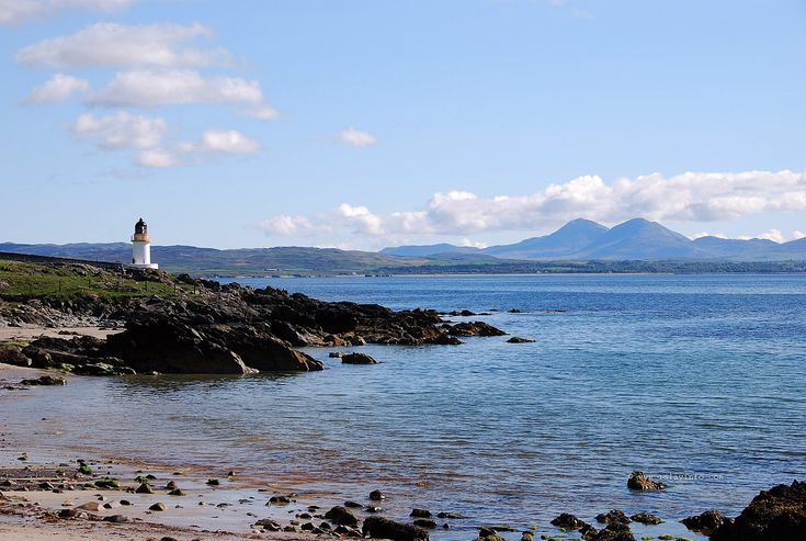Lochindaal Lighthouse near Port Charlotte and Paps of Jura
