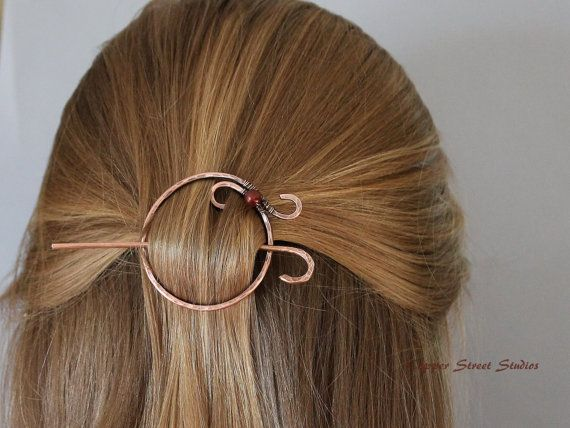 Handcrafted Circle Hair Stick Copper Hair by CopperStreetStudios