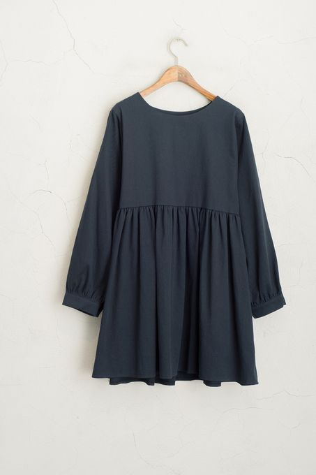 Wide Neck Dress Navy 100% Cotton.