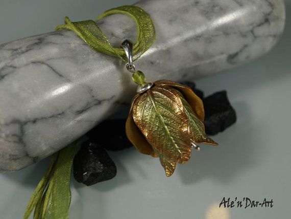 Leaf necklace green leaf pendant leaf romantic by AlenDarArt