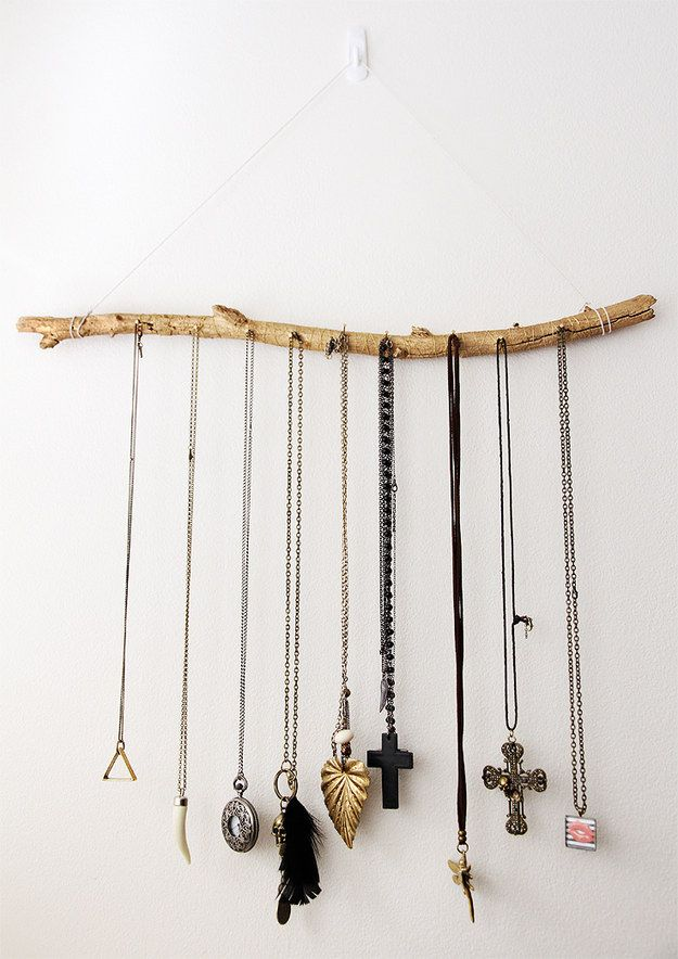 Wooden Jewelry Holder - could add other sticks to it to make weird tree/antler-looking sculpture to hold additional hair supplies jewelery