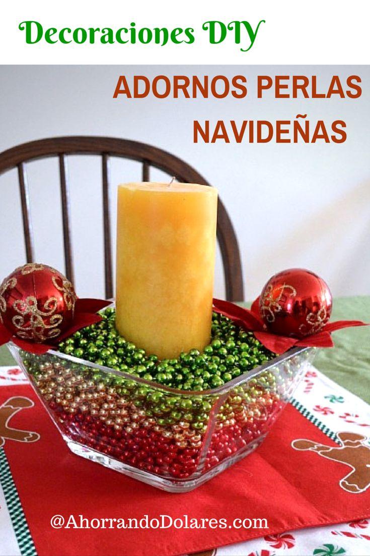 Decoraciones para navidad econ micas con adornos de perlas for Decoraciones faciles navidad para casas