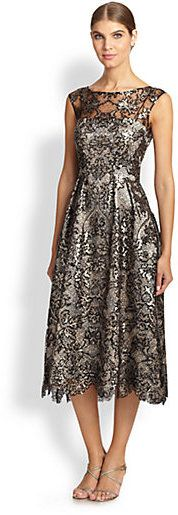 Kay Unger Lace-Overlay Metallic Dress on shopstyle.com