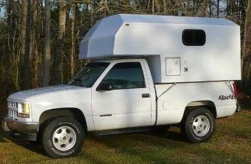 One Guy's Slide-In Truck Camper Project: Custom, Fiberglass Slide-In Truck Camper for sale. 1/2 ton pickup...700#