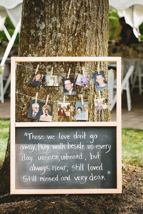 chalkboard wedding signs to honor deceased loved ones at wedding with their photos / http://www.deerpearlflowers.com/wedding-photo-display-ideas/