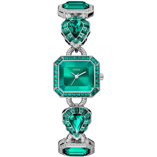 GUESS Watch, Women's Green Crystal-Accent Silver-Tone Bracelet 23x25mm... ($135) ❤ liked on Polyvore featuring jewelry, watches, green dial watches, green watches, sparkly watches, guess jewelry and bezel jewelry