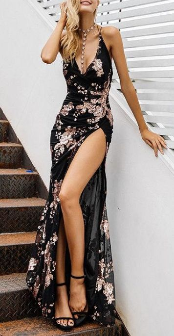 Floral Backless High Split Maxi Dress