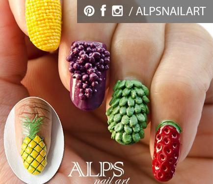 Tutorials for 3-D fruit nails by @Alpsnailart! #nails #3dnails #fruitnails