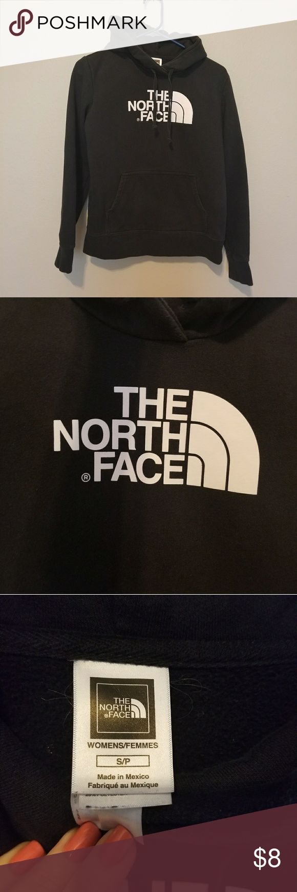 The North Face hoodie Black North Face hoodie. This hoodie is a faded black and does have signs of wash wear. Not so much piling, but the hood strings look worn and the black has faded. Logo still looks perfect with no cracking. The North Face Jackets & Coats