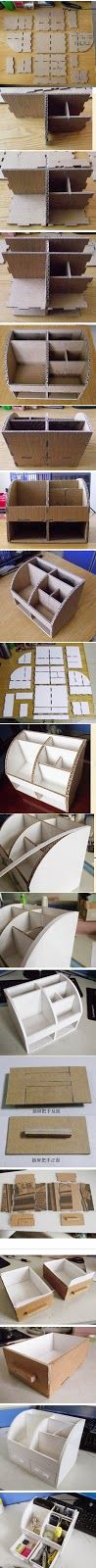 My DIY Projects: How To Make Carton Office Stationery Box