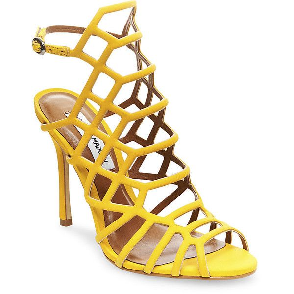 Steve Madden Women's Slithur Sandals ($110) ❤ liked on Polyvore featuring shoes, sandals, yellow nubuck, strappy sandals, caged sandals, yellow high heel sandals, yellow sandals and open toe sandals