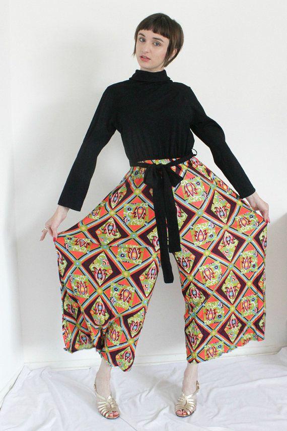 1970s Palazzo Jumpsuit | Vintage 70s Wide Leg Jumpsuit | Long Sleeve Hostess Romper  | Medium M Large L