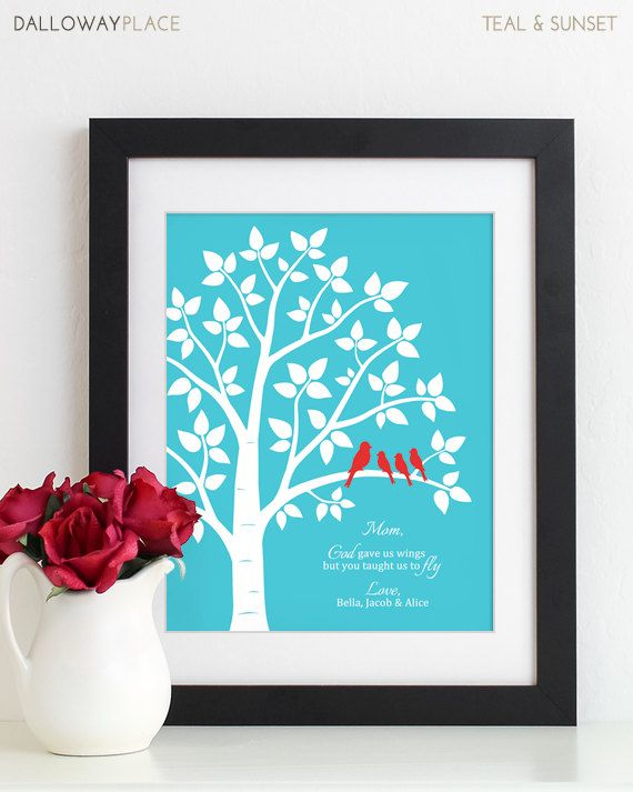 Mother of the Bride Gift for Mom Gift, Thank You Mom Gift From Kids Mom Birthday Gift Mothers Day Gift for Her Family Tree Art Print – Gifts for Mom