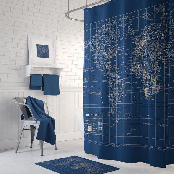 Navy Blue World Map Shower Curtain Dark Travel Decor Etsy Dark