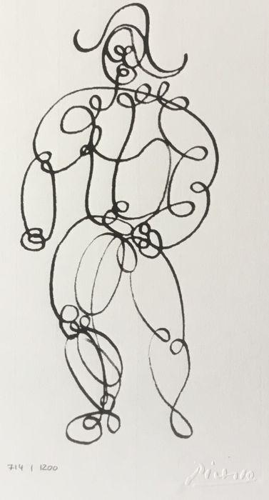 Pablo Picasso (na) (1881-1973) - L'arlequin één regel Pablo Picasso (1891-1973)L'Arlequin een lijn lithografie genummerd ondertekendReliëf handtekening op de steenAfmeting: 30 x 40 cmGenummerde 714/1200 exemplarenOmvang met inbegrip van passe-partout: 50 x 40 cm met museum kwaliteit zuurvrij passe-partout klaar om te worden geformuleerd.De oorspronkelijke dateert van 1918. Om onze kennis is dit de enige editie later dan het origineel. Zeldzame werk is zeer weinig bekend over deze protean…