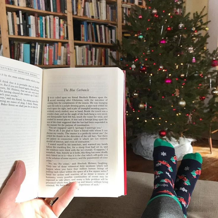 I am sitting down after an energetic round of Christmasing (yes Christmas is a verb now OKAY? OKAY????) wherein I cleaned my kitchen took 1847262 Christmassy Bookstagram pictures and made a batch of cookies. I am taking a break while the dough chills (and before starting on cards) so here is a festive #socksunday snap as prompted by #jinglebookrock. Behold my second-favorite Christmas short story (after A Christmas Memory): The Blue Carbuncle a Christmassy Sherlock Holmes short. Also behold…