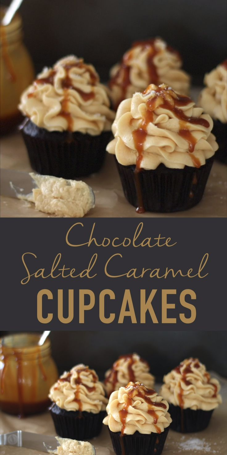 Salted Caramel Cupcakes, Chocolate Cupcakes, Chocolate Recipes, Salted Caramel Chocolate Cake, Flourless Chocolate Cakes, Easy Desserts, Delicious Desserts, Dessert Recipes, Delicious Cupcakes