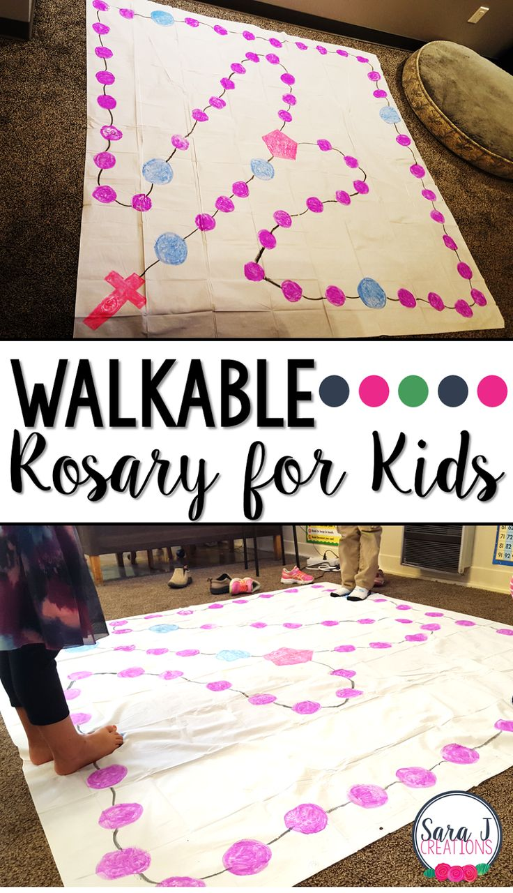 DIY Walkable Rosary for Children to help kids learn to pray