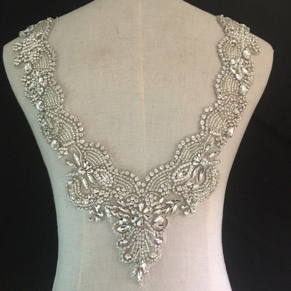 Deep V Neckline Rhinestone Applique For Bridal Dress Etsy Rhinestone Bridal Rhinestone Appliques Rhinestone Bead