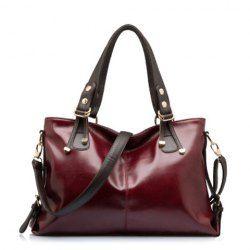 Fashionable Color Block and Zip Design Women's Shoulder Bag