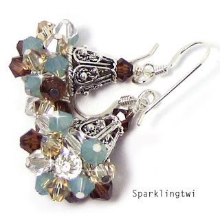 I wonder how these would look if they were upside down - like a bouquet? Sparklingtwi: Cluster Earrings