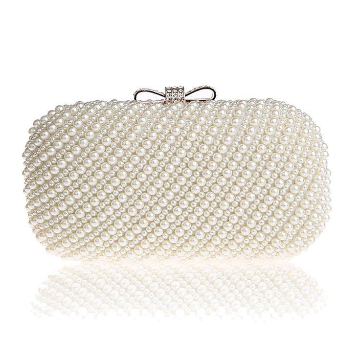 Bolsas Fineplus Womens Pérola frisada Evening Bag strass embreagem de luxo |