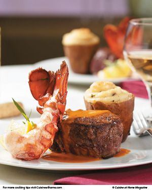 Surf and Turf - seared steaks in oven with brandy sauce
