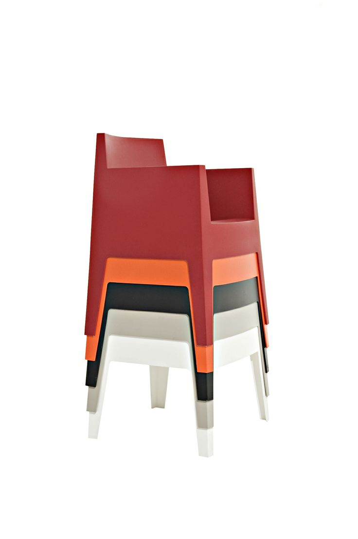 Toy by Philippe Starck Stackable armchair Polypropylene monobloc available in these colors: white, light grey, black, orange, red. loose covers available in white cotton or white piquet.