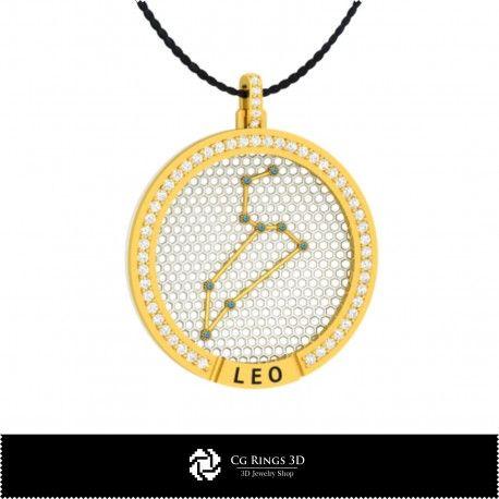 3D CAD Leo Zodiac Constellation Pendant