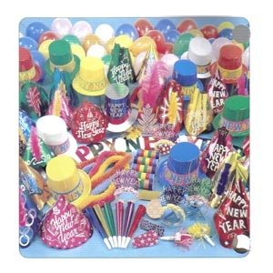 Magnificent Party Kit for 100 people.     Contains 50 full size hats, 20 plastic top hats, 30 glitter tiaras, 1 full size foil top hat, 25 deluxe metal noisemakers, 50 foil horns, 25 blowouts, 1 large plume feather tiara, 50 Hawaiian poly leis, 200 flame resistant serpentine throws, 50 balloons & 1 Happy New Year Banner.